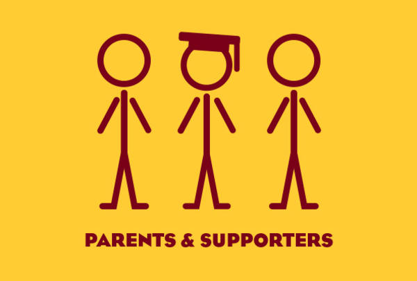 """Three stick figures, central figure wearing graduation cap, with the words, """"Parents and Supporters."""""""